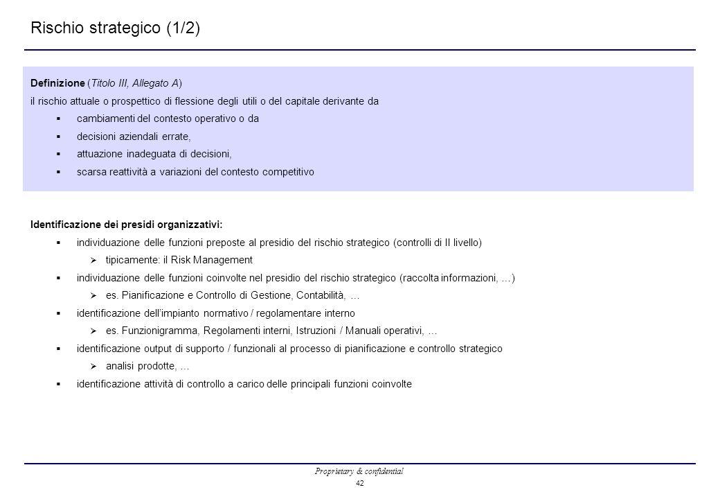 Proprietary & confidential 42 Rischio strategico (1/2) Definizione (Titolo III, Allegato A) il rischio attuale o prospettico di flessione degli utili