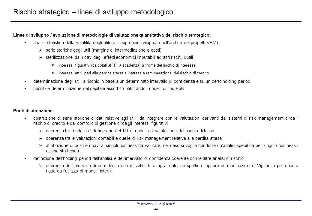 Proprietary & confidential 44 Rischio strategico – linee di sviluppo metodologico Linee di sviluppo / evoluzione di metodologie di valutazione quantit