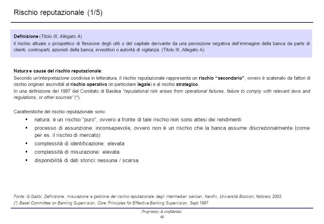 Proprietary & confidential 45 Rischio reputazionale (1/5) Definizione (Titolo III, Allegato A) il rischio attuale o prospettico di flessione degli uti