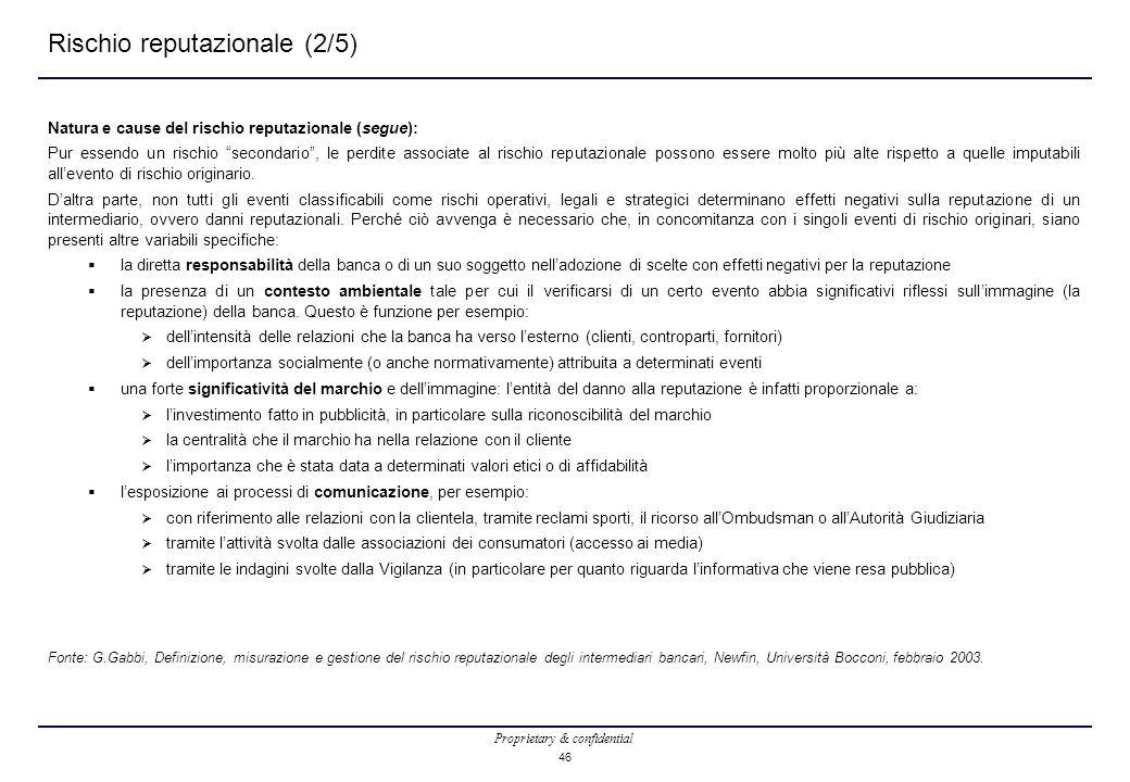 """Proprietary & confidential 46 Rischio reputazionale (2/5) Natura e cause del rischio reputazionale (segue): Pur essendo un rischio """"secondario"""", le pe"""