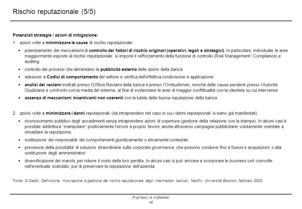 Proprietary & confidential 49 Rischio reputazionale (5/5) Potenziali strategie / azioni di mitigazione: 1.azioni volte a minimizzare le cause di rischio reputazionale:  potenziamento dei meccanismi di controllo dei fattori di rischio originari (operativi, legali e strategici).