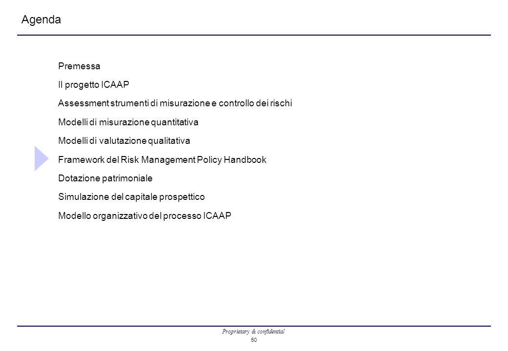 Proprietary & confidential 50 Agenda Premessa Il progetto ICAAP Assessment strumenti di misurazione e controllo dei rischi Modelli di misurazione quantitativa Modelli di valutazione qualitativa Framework del Risk Management Policy Handbook Dotazione patrimoniale Simulazione del capitale prospettico Modello organizzativo del processo ICAAP
