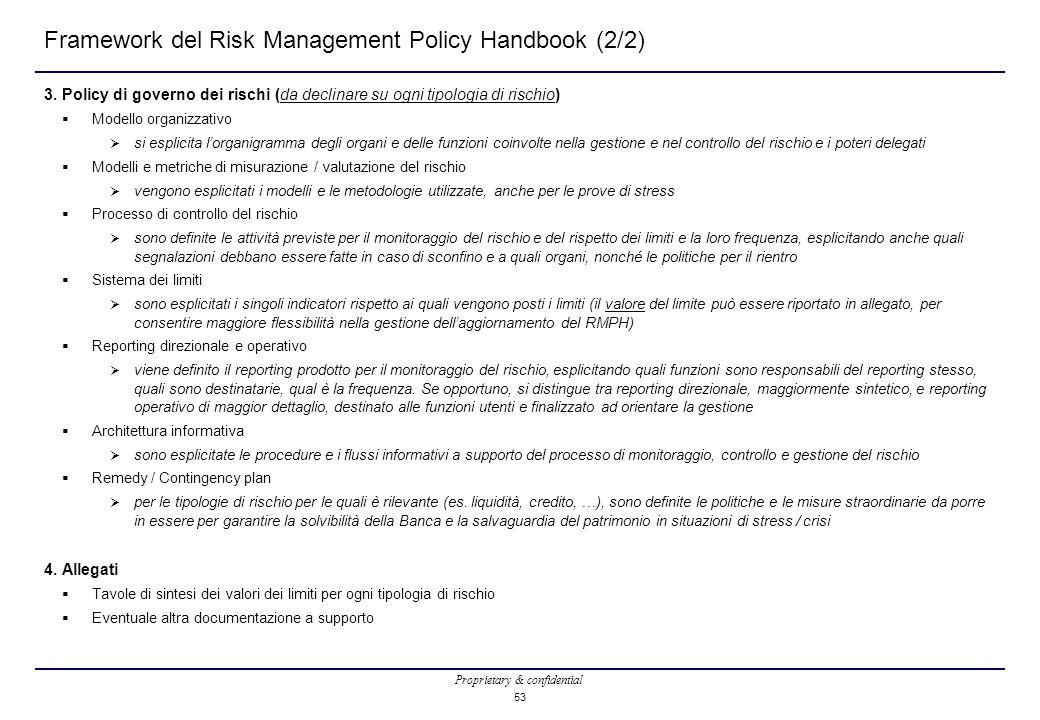 Proprietary & confidential 53 Framework del Risk Management Policy Handbook (2/2) 3. Policy di governo dei rischi (da declinare su ogni tipologia di r