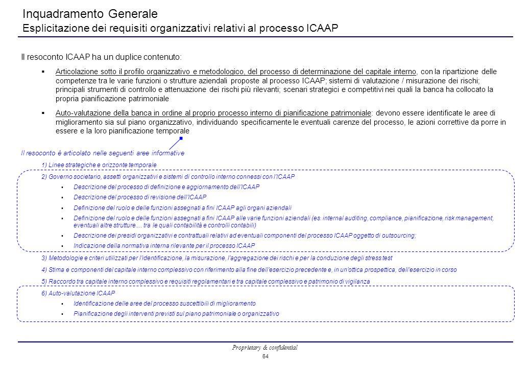 Proprietary & confidential 64 Inquadramento Generale Esplicitazione dei requisiti organizzativi relativi al processo ICAAP Il resoconto ICAAP ha un duplice contenuto:  Articolazione sotto il profilo organizzativo e metodologico, del processo di determinazione del capitale interno, con la ripartizione delle competenze tra le varie funzioni o strutture aziendali proposte al processo ICAAP; sistemi di valutazione / misurazione dei rischi; principali strumenti di controllo e attenuazione dei rischi più rilevanti; scenari strategici e competitivi nei quali la banca ha collocato la propria pianificazione patrimoniale  Auto-valutazione della banca in ordine al proprio processo interno di pianificazione patrimoniale: devono essere identificate le aree di miglioramento sia sul piano organizzativo, individuando specificamente le eventuali carenze del processo, le azioni correttive da porre in essere e la loro pianificazione temporale Il resoconto è articolato nelle seguenti aree informative 1) Linee strategiche e orizzonte temporale 2) Governo societario, assetti organizzativi e sistemi di controllo interno connessi con l'ICAAP  Descrizione del processo di definizione e aggiornamento dell'ICAAP  Descrizione del processo di revisione dell'ICAAP  Definizione del ruolo e delle funzioni assegnati a fini ICAAP agli organi aziendali  Definizione del ruolo e delle funzioni assegnati a fini ICAAP alle varie funzioni aziendali (es.