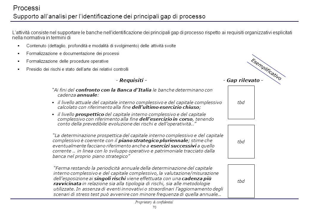 Proprietary & confidential 70 Processi Supporto all'analisi per l'identificazione dei principali gap di processo L'attività consiste nel supportare le