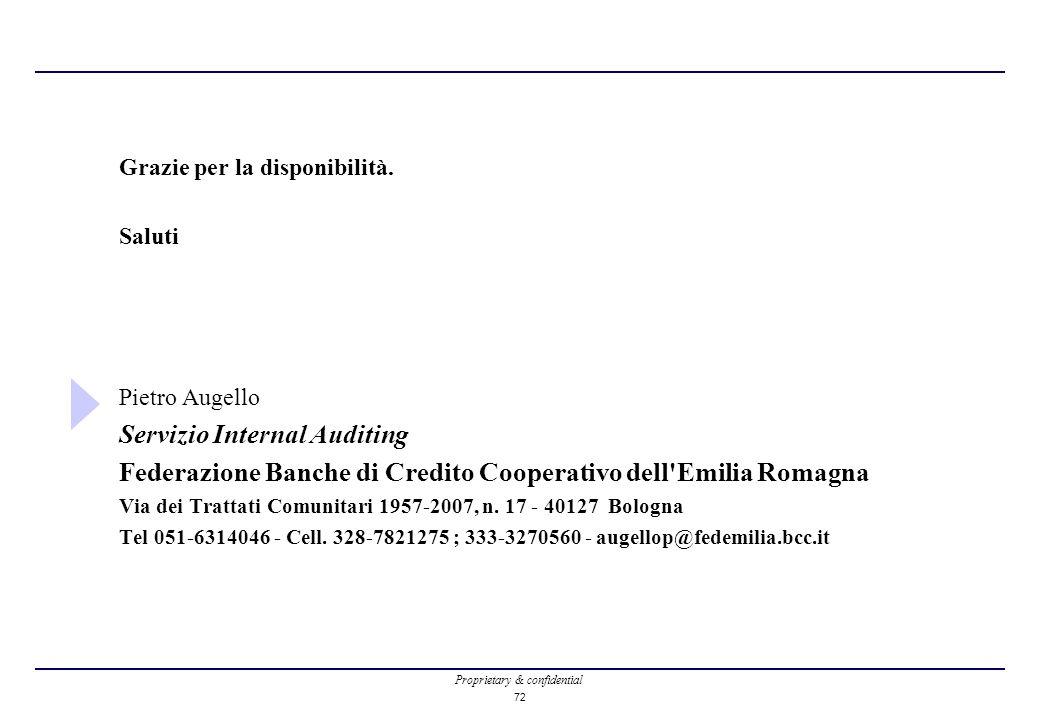 Proprietary & confidential 72 Grazie per la disponibilità. Saluti Pietro Augello Servizio Internal Auditing Federazione Banche di Credito Cooperativo