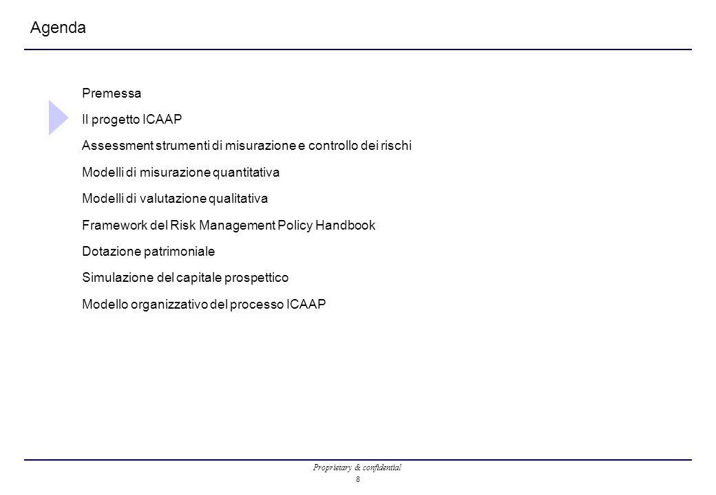 Proprietary & confidential 8 Agenda Premessa Il progetto ICAAP Assessment strumenti di misurazione e controllo dei rischi Modelli di misurazione quantitativa Modelli di valutazione qualitativa Framework del Risk Management Policy Handbook Dotazione patrimoniale Simulazione del capitale prospettico Modello organizzativo del processo ICAAP