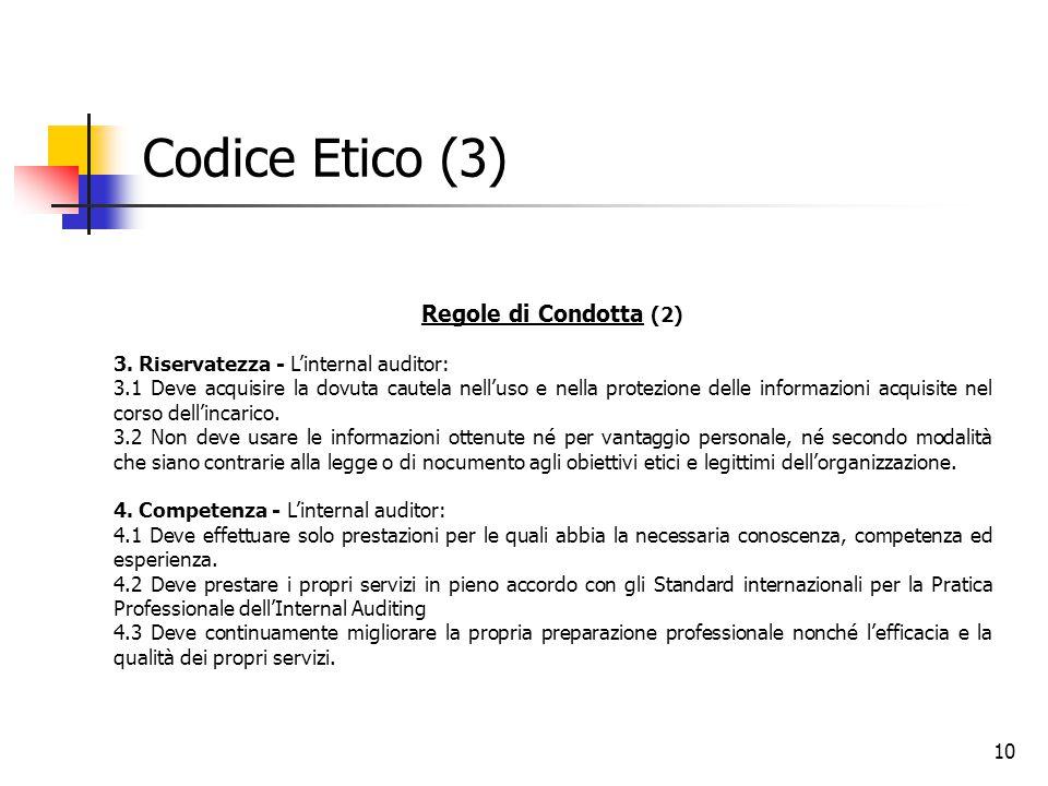 10 Codice Etico (3) Regole di Condotta (2) 3. Riservatezza - L'internal auditor: 3.1 Deve acquisire la dovuta cautela nell'uso e nella protezione dell