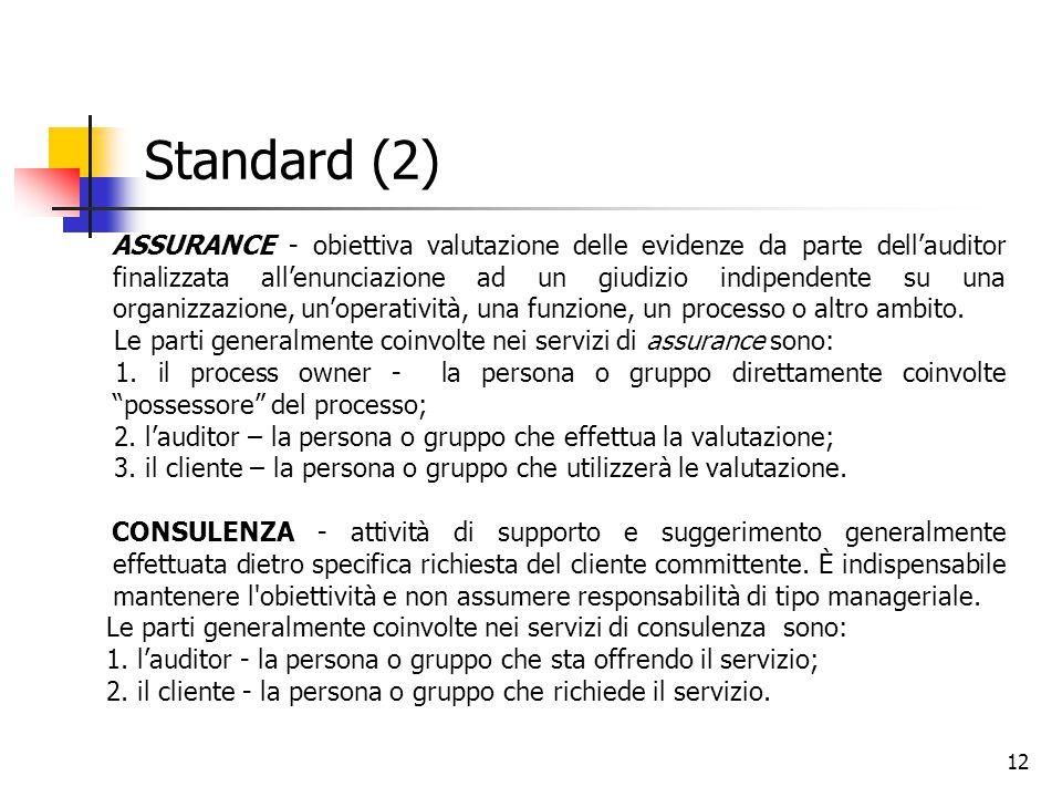12 Standard (2) ASSURANCE - obiettiva valutazione delle evidenze da parte dell'auditor finalizzata all'enunciazione ad un giudizio indipendente su una