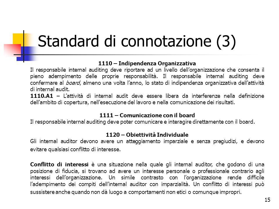 15 Standard di connotazione (3) 1110 – Indipendenza Organizzativa Il responsabile internal auditing deve riportare ad un livello dell'organizzazione c