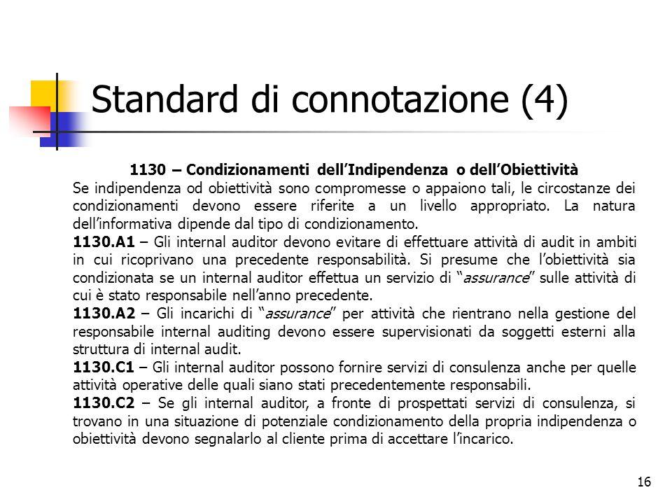 16 Standard di connotazione (4) 1130 – Condizionamenti dell'Indipendenza o dell'Obiettività Se indipendenza od obiettività sono compromesse o appaiono