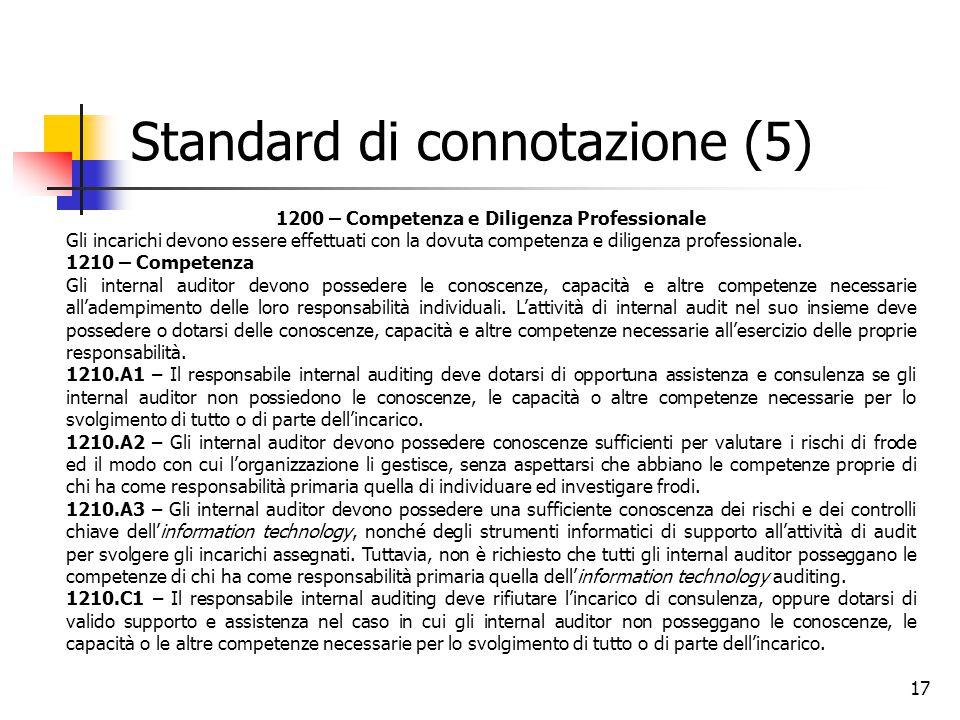 17 Standard di connotazione (5) 1200 – Competenza e Diligenza Professionale Gli incarichi devono essere effettuati con la dovuta competenza e diligenz