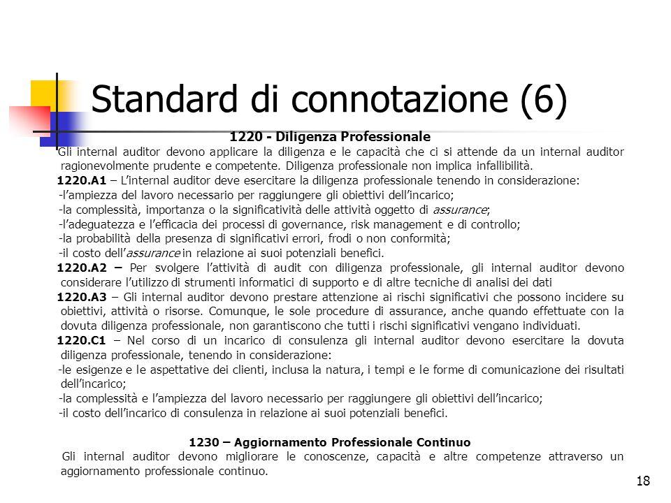 18 Standard di connotazione (6) 1220 - Diligenza Professionale Gli internal auditor devono applicare la diligenza e le capacità che ci si attende da u