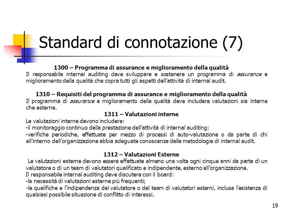 19 Standard di connotazione (7) 1300 – Programma di assurance e miglioramento della qualità Il responsabile internal auditing deve sviluppare e sosten