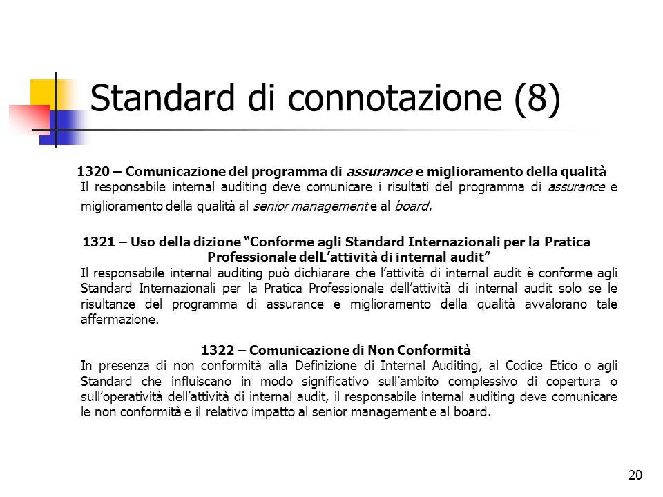 20 Standard di connotazione (8) 1320 – Comunicazione del programma di assurance e miglioramento della qualità Il responsabile internal auditing deve c