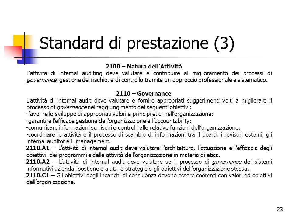 23 Standard di prestazione (3) 2100 – Natura dell'Attività L'attività di internal auditing deve valutare e contribuire al miglioramento dei processi d