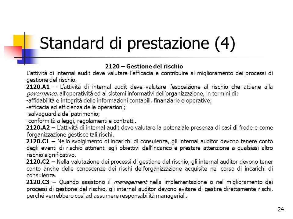 24 Standard di prestazione (4) 2120 – Gestione del rischio L'attività di internal audit deve valutare l'efficacia e contribuire al miglioramento dei p