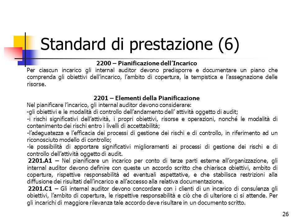 26 Standard di prestazione (6) 2200 – Pianificazione dell'Incarico Per ciascun incarico gli internal auditor devono predisporre e documentare un piano