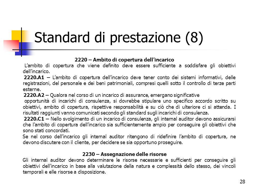 28 Standard di prestazione (8) 2220 – Ambito di copertura dell'incarico L'ambito di copertura che viene definito deve essere sufficiente a soddisfare