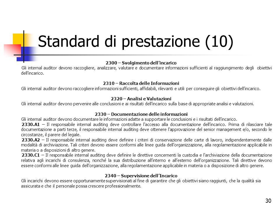 30 Standard di prestazione (10) 2300 – Svolgimento dell'incarico Gli internal auditor devono raccogliere, analizzare, valutare e documentare informazi
