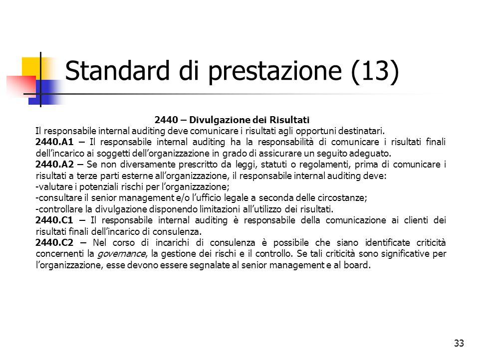33 Standard di prestazione (13) 2440 – Divulgazione dei Risultati Il responsabile internal auditing deve comunicare i risultati agli opportuni destina