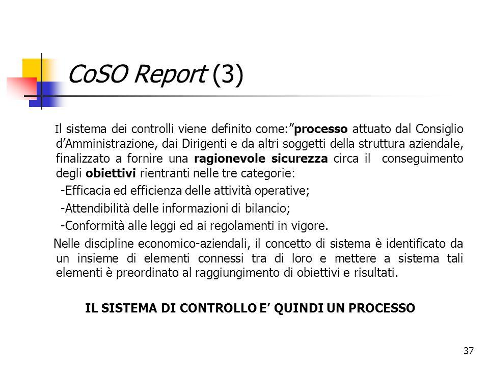 """37 CoSO Report (3) I l sistema dei controlli viene definito come:""""processo attuato dal Consiglio d'Amministrazione, dai Dirigenti e da altri soggetti"""