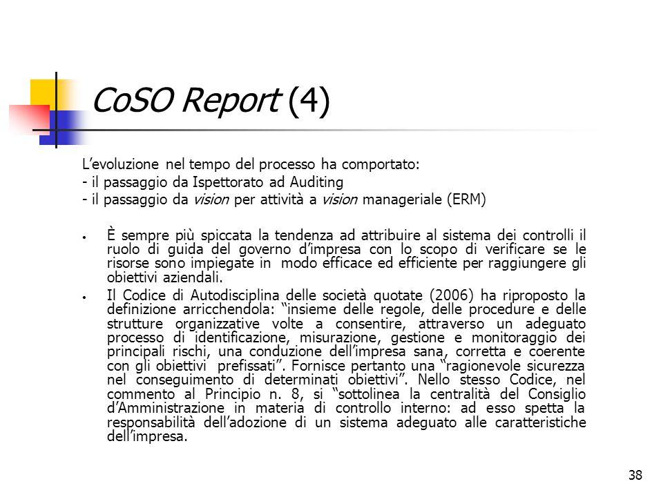 38 CoSO Report (4) L'evoluzione nel tempo del processo ha comportato: - il passaggio da Ispettorato ad Auditing - il passaggio da vision per attività