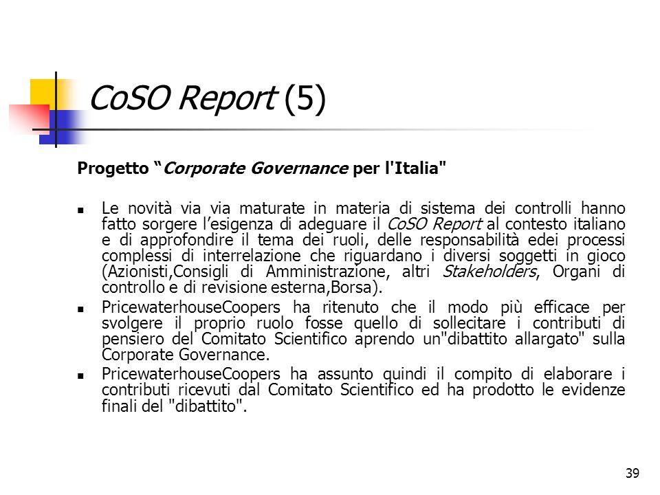 """39 CoSO Report (5) Progetto """"Corporate Governance per l'Italia"""