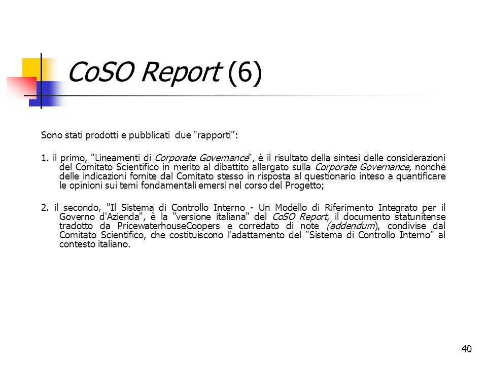 40 CoSO Report (6) Sono stati prodotti e pubblicati due