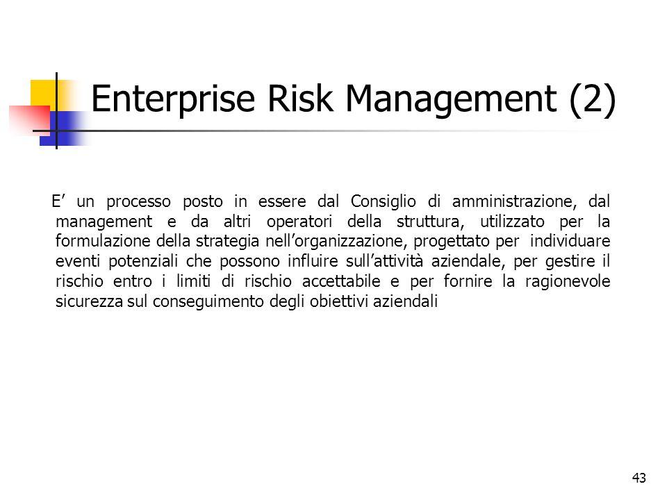 43 Enterprise Risk Management (2) E' un processo posto in essere dal Consiglio di amministrazione, dal management e da altri operatori della struttura