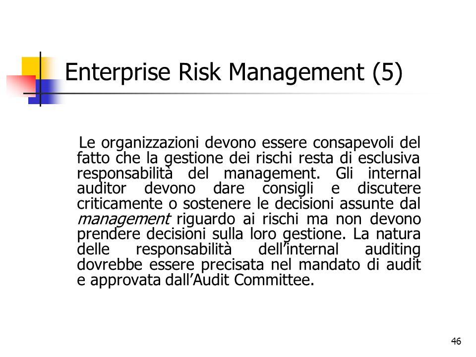 46 Enterprise Risk Management (5) Le organizzazioni devono essere consapevoli del fatto che la gestione dei rischi resta di esclusiva responsabilità d