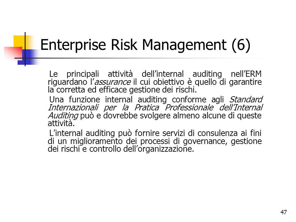 47 Enterprise Risk Management (6) Le principali attività dell'internal auditing nell'ERM riguardano l'assurance il cui obiettivo è quello di garantire