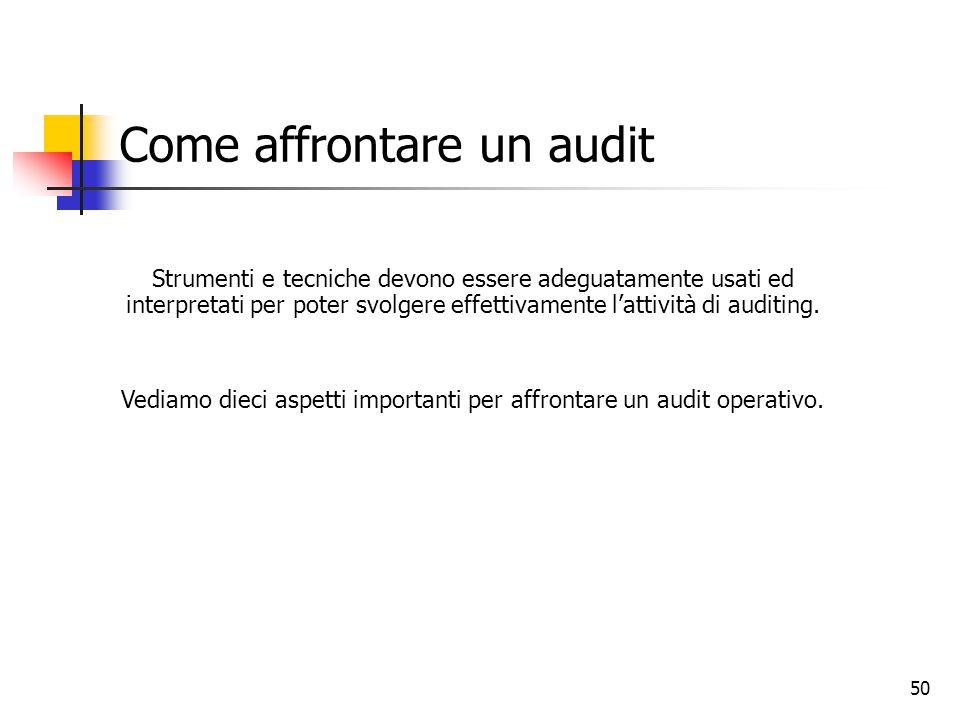 50 Come affrontare un audit Strumenti e tecniche devono essere adeguatamente usati ed interpretati per poter svolgere effettivamente l'attività di aud