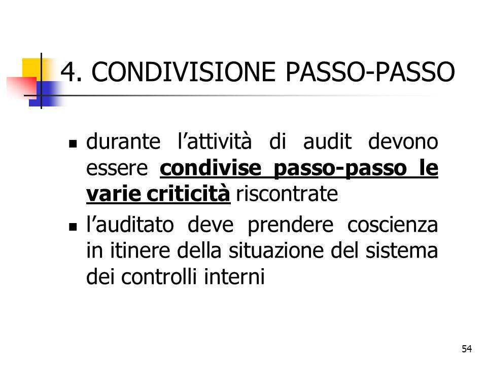 54 4. CONDIVISIONE PASSO-PASSO durante l'attività di audit devono essere condivise passo-passo le varie criticità riscontrate l'auditato deve prendere