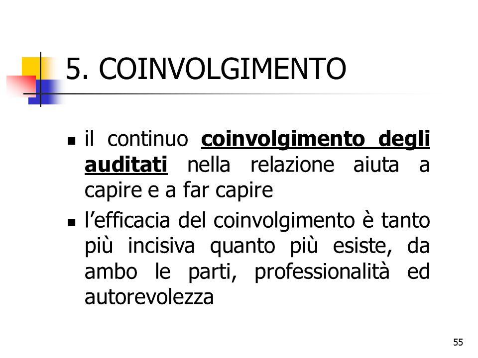 55 5. COINVOLGIMENTO il continuo coinvolgimento degli auditati nella relazione aiuta a capire e a far capire l'efficacia del coinvolgimento è tanto pi