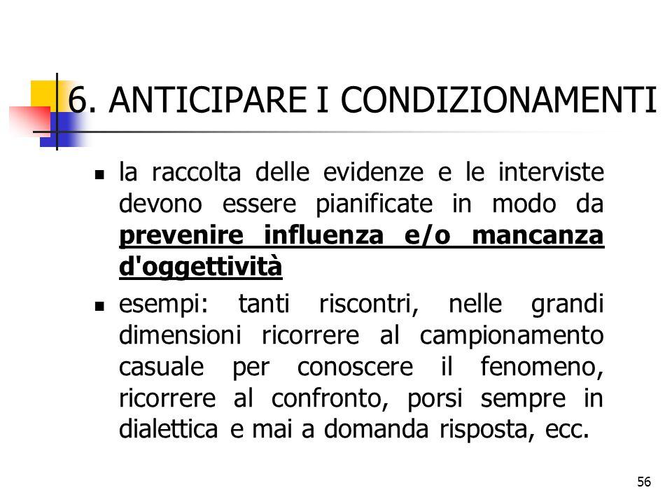 56 6. ANTICIPARE I CONDIZIONAMENTI la raccolta delle evidenze e le interviste devono essere pianificate in modo da prevenire influenza e/o mancanza d'