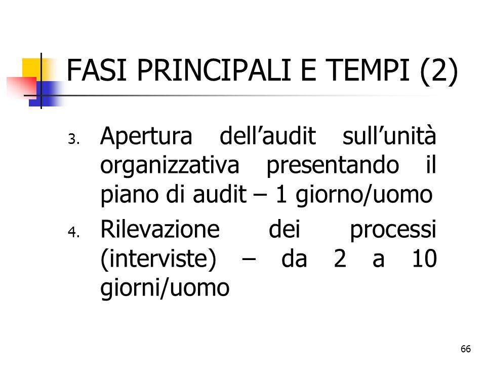 66 FASI PRINCIPALI E TEMPI (2) 3. Apertura dell'audit sull'unità organizzativa presentando il piano di audit – 1 giorno/uomo 4. Rilevazione dei proces