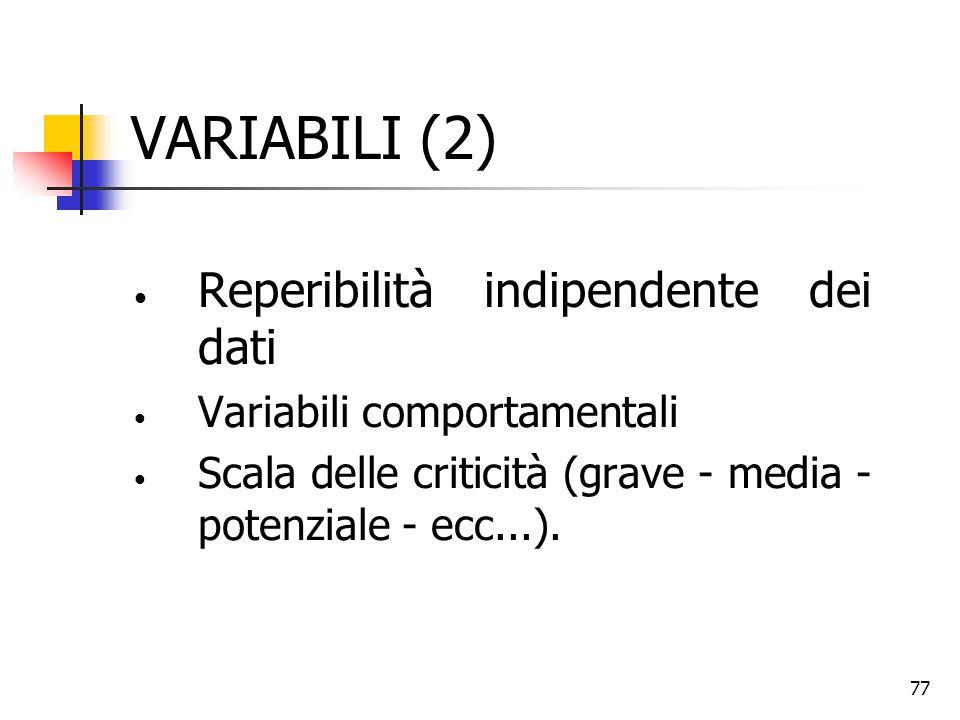 77 VARIABILI (2) Reperibilità indipendente dei dati Variabili comportamentali Scala delle criticità (grave - media - potenziale - ecc...).