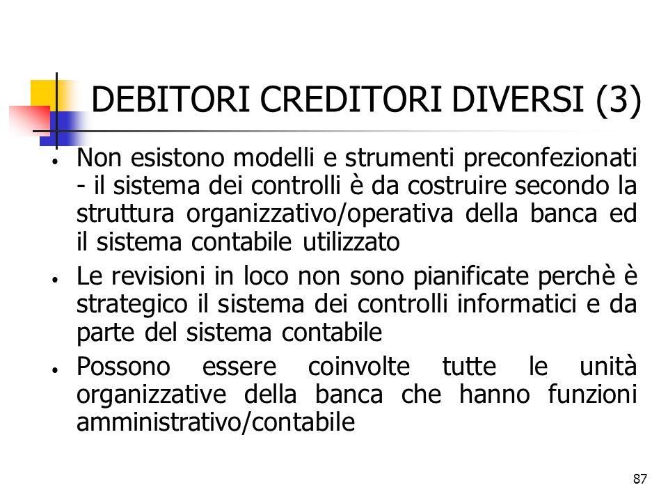 87 DEBITORI CREDITORI DIVERSI (3) Non esistono modelli e strumenti preconfezionati - il sistema dei controlli è da costruire secondo la struttura orga