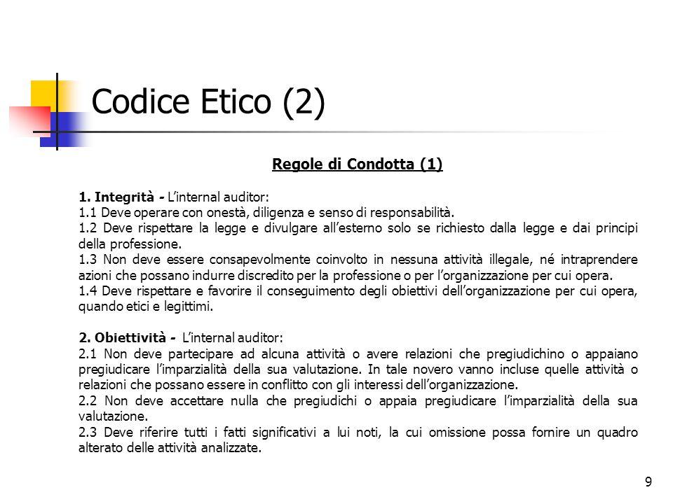 9 Codice Etico (2) Regole di Condotta (1) 1. Integrità - L'internal auditor: 1.1 Deve operare con onestà, diligenza e senso di responsabilità. 1.2 Dev