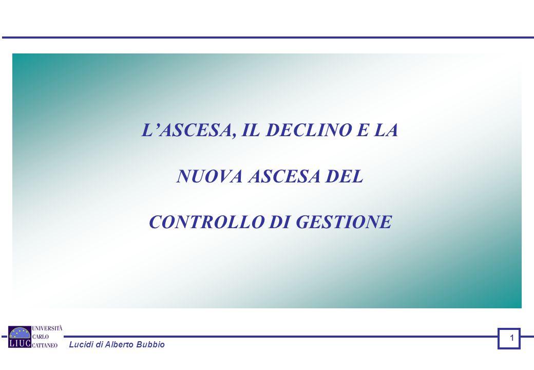 Lucidi di Alberto Bubbio 1 L'ASCESA, IL DECLINO E LA NUOVA ASCESA DEL CONTROLLO DI GESTIONE