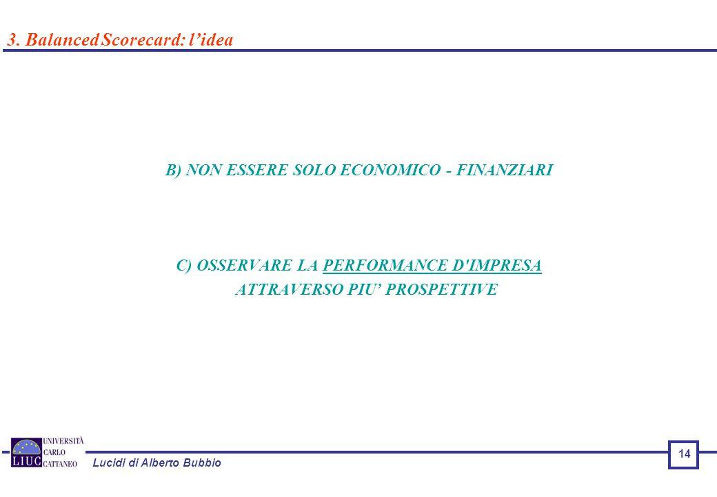 Lucidi di Alberto Bubbio B) NON ESSERE SOLO ECONOMICO - FINANZIARI C) OSSERVARE LA PERFORMANCE D IMPRESA ATTRAVERSO PIU' PROSPETTIVE 3.