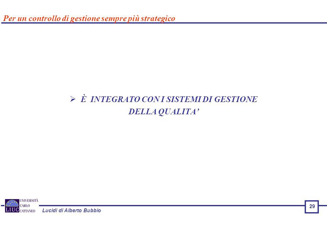 Lucidi di Alberto Bubbio 29  È INTEGRATO CON I SISTEMI DI GESTIONE DELLA QUALITA' Per un controllo di gestione sempre più strategico