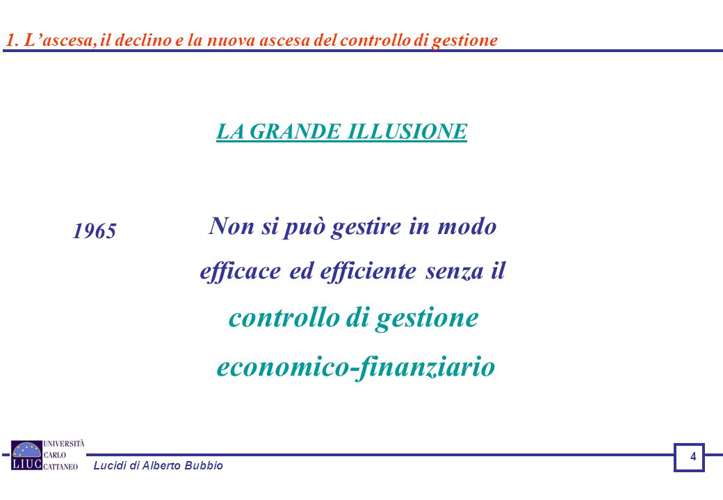 Lucidi di Alberto Bubbio 4 LA GRANDE ILLUSIONE 1965 Non si può gestire in modo efficace ed efficiente senza il controllo di gestione economico-finanziario 1.