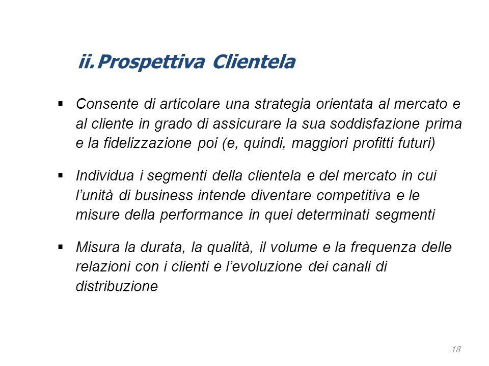 18 ii.Prospettiva Clientela  Consente di articolare una strategia orientata al mercato e al cliente in grado di assicurare la sua soddisfazione prima