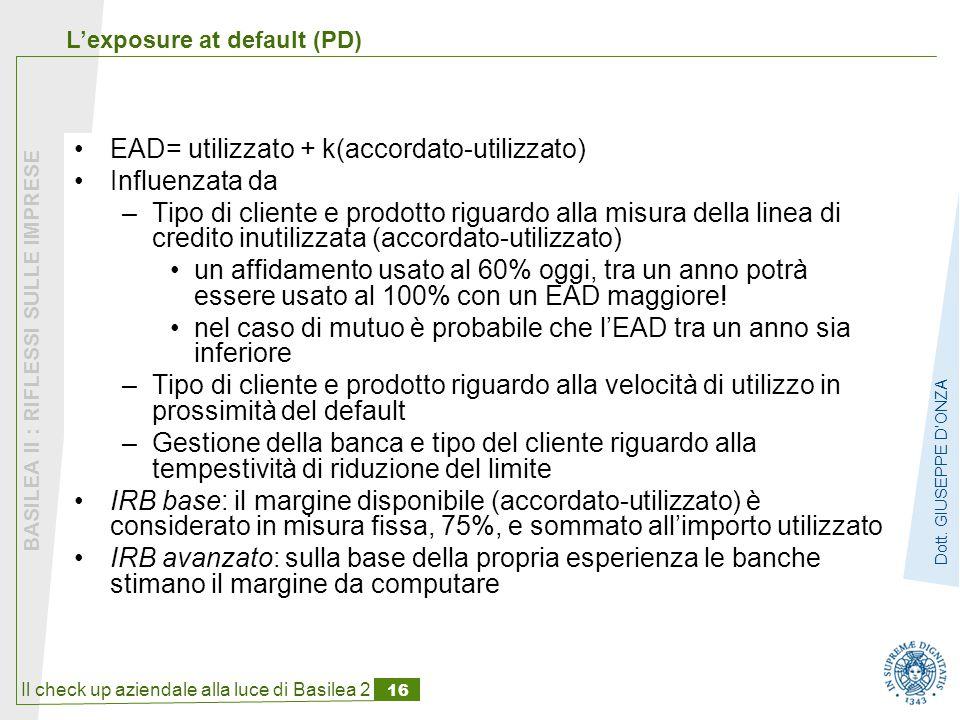 Il check up aziendale alla luce di Basilea 2 16 BASILEA II : RIFLESSI SULLE IMPRESE Dott.
