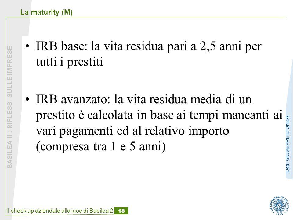 Il check up aziendale alla luce di Basilea 2 18 BASILEA II : RIFLESSI SULLE IMPRESE Dott.