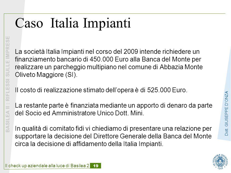 Il check up aziendale alla luce di Basilea 2 19 BASILEA II : RIFLESSI SULLE IMPRESE Dott.
