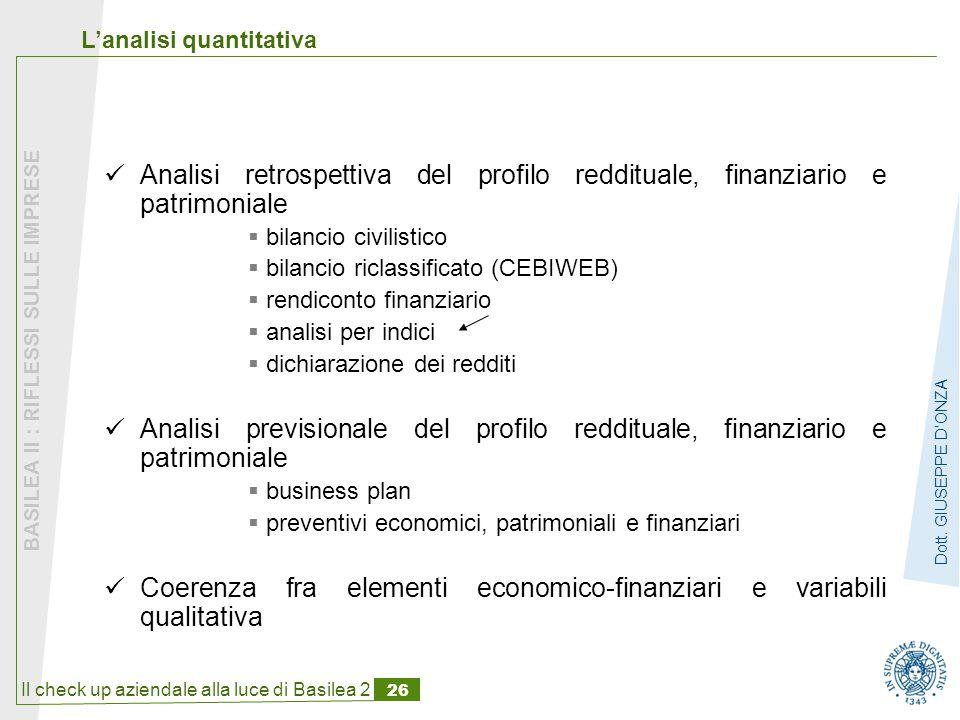Il check up aziendale alla luce di Basilea 2 26 BASILEA II : RIFLESSI SULLE IMPRESE Dott.