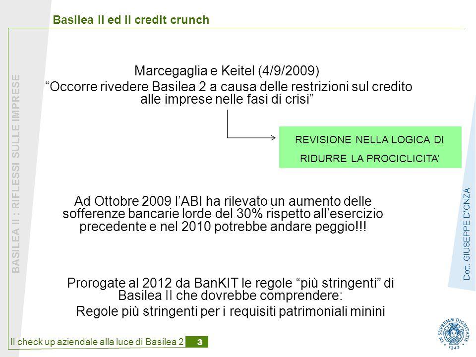 Il check up aziendale alla luce di Basilea 2 3 BASILEA II : RIFLESSI SULLE IMPRESE Dott.